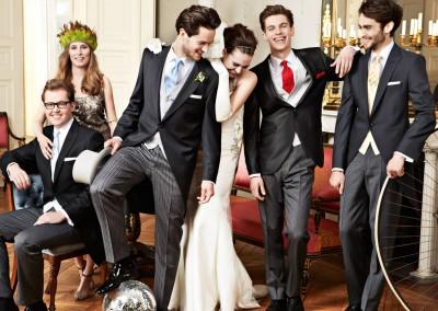 Klasikiniai juodi frakai vakarėliams ir vestuvėms