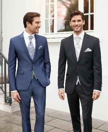 Safyro spalvos, 2 sagų, blizgus vestuvių kostiumas
