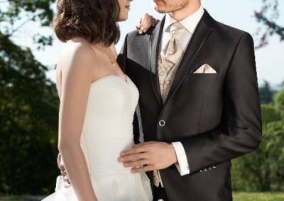 2 sagų, kaštono spalvos vestuvinis kostiumas