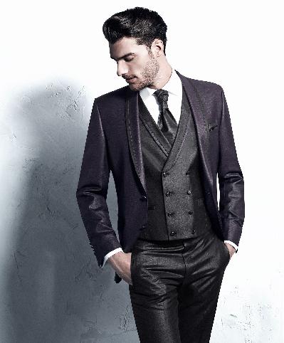3 dalių vyriškas kostiumas bordo ir juodos spalvos